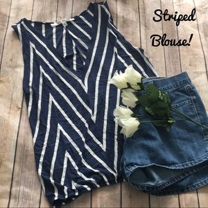 Navy blue and white striped sleeveless Blouse